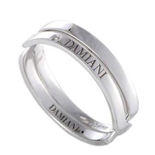 Damiani Abbraccio 18K White Gold Single Diamond Crisscross Ring