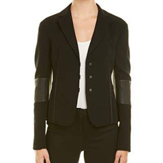 Akris Womens Wool-Blend Leather-Trim Jacket, 8, Black