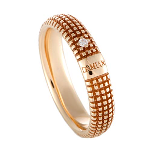 Damiani Metropolitan 18K Rose Gold Diamond Textured Band Ring