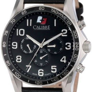 "Calibre Men's ""Buffalo"" Stainless Steel and Black Leather Watch"