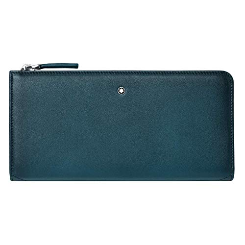 Montblanc Meisterstück Sfumato Wallet 12cc Zip Around Petrol Blue