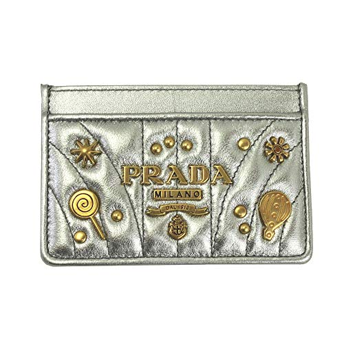 Prada Silver Leather W/gold metal logos card case Cromo