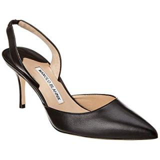 Manolo Blahnik Carolyne Leather Pump, 37, Black