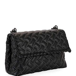 Bottega Veneta Olimpia Small Microstud Shoulder Bag Made in Italy (Black)