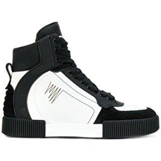Dolce e Gabbana Men's White/Black Leather Hi Top Sneakers