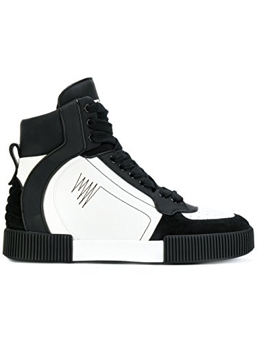 Dolce e Gabbana Men's White/Black Leather Hi Top Sneakers