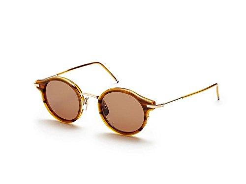Sunglasses THOM BROWNE Walnut12K Gold w/ Dark Brown-AR