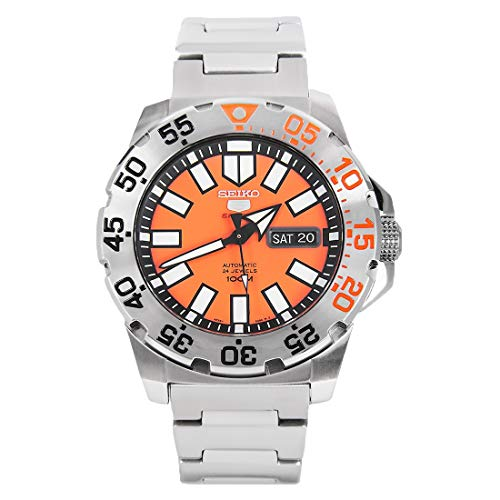 Seiko Series 5 Automatic Orange Dial Stainless Steel Mens Watch