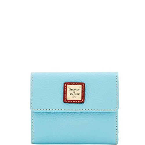Dooney & Bourke Pebble Grain Small Flap Wallet, Caribbean Blue