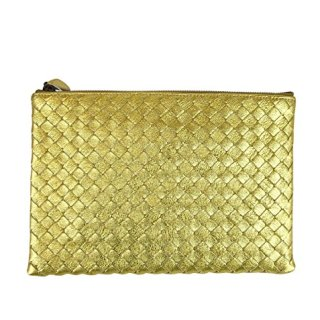 Bottega Veneta Intrecciato Woven Gold Leather Clutch Pouch Bag
