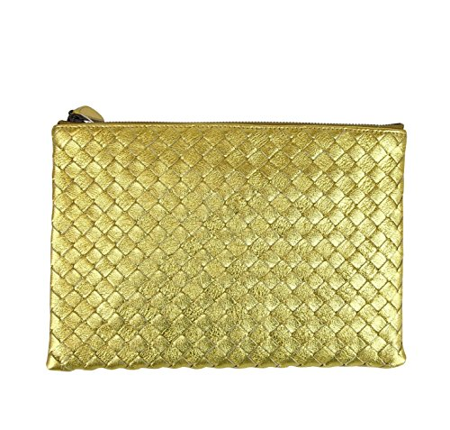 Bottega Veneta Intrecciato Woven Gold Leather Clutch Pouch Bag