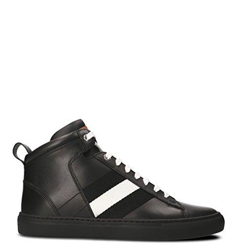 BALLY Men's Black Leather Hi Top Sneakers