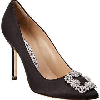 Manolo Blahnik Hangisi Satin Pump, 37.5, Black