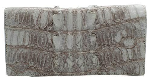 Authentic M Crocodile Skin Women's Long Bifold Tails Checkbook Wallet