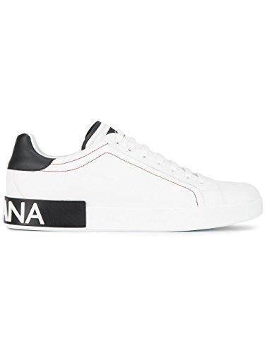 Dolce e Gabbana Men's White/Black Leather Sneakers