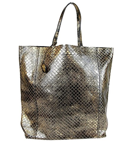 Bottega Veneta Gold and Black Intrecciomirage Leather Tote Bag