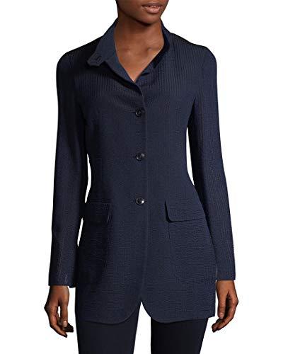 Akris Womens Charlston Ribbed Silk Jacket, 10, Blue