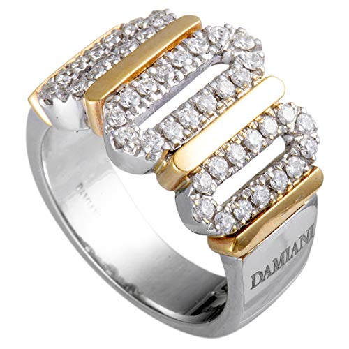 Damiani 18K White and Rose Gold Diamond Pave Wide Band Ring