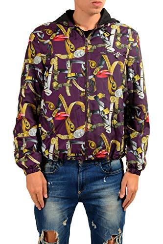 Versace Men's Graphic Full Zip Hooded Windbreaker Jacket