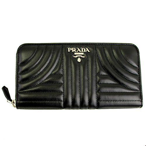 Prada Black Quilting Leather Long Wallet Nero Zip Around