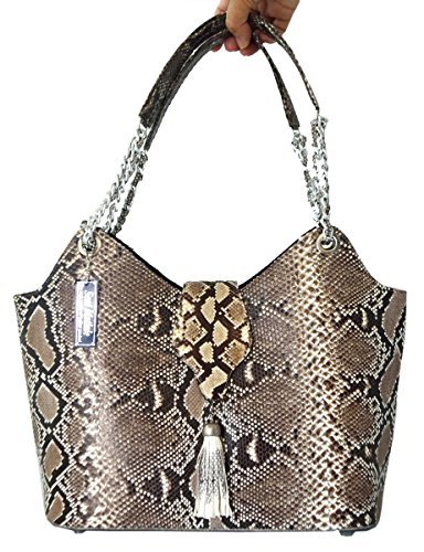 Authentic Snake Skin Women's Python Snake Leather Tuft Bag Purse Hobo Tote Handbag