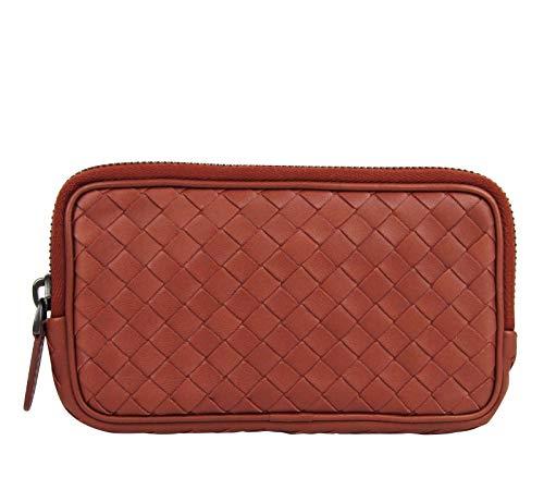 Bottega Veneta Unisex Smartphone Case Rust Red Woven Leather Coin Purse