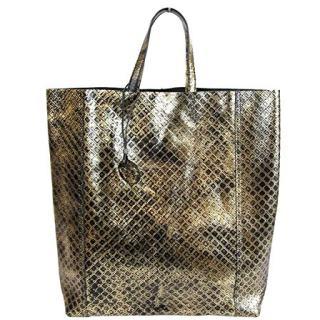 Bottega Veneta Women's Gold/Black Leather Intrecciomirage Tote Bag