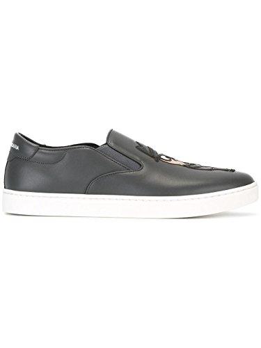 Dolce e Gabbana Men's Black Leather Slip On Sneakers