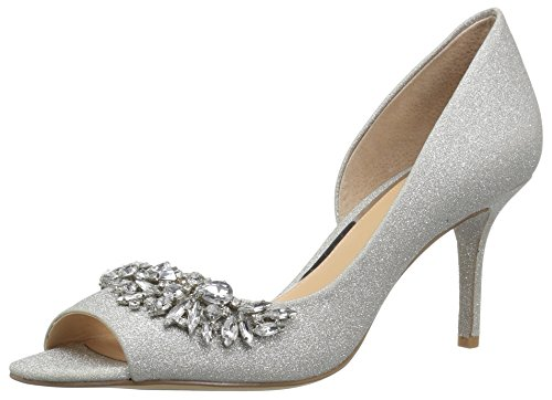 Badgley Mischka Jewel Women's Melvina Pump, Silver Glitter