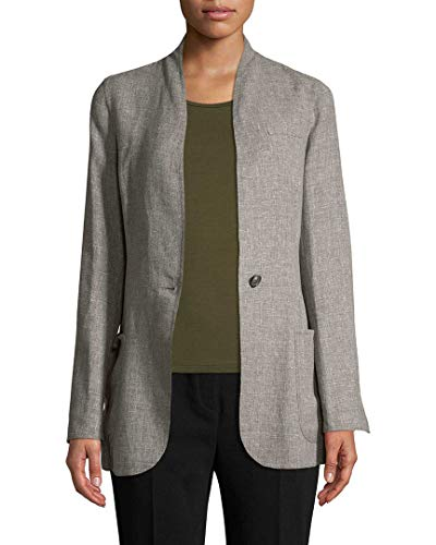 Akris Womens Cannes Solid Coat, 6 Grey