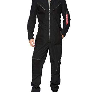Alpha Industries Men's MOD Full Length Zip Flight Suit, Black, Medium