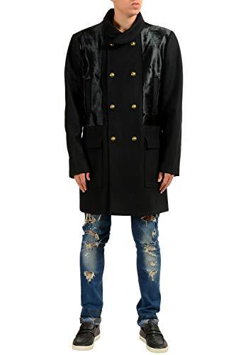 Versace Versus Men's Wool Pony Hair Black Double Breasted Coat