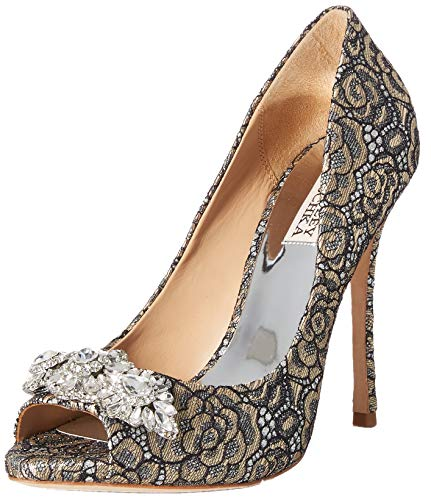 Badgley Mischka Women's Vanetia II Pump, Pewter Lace, 9 M US