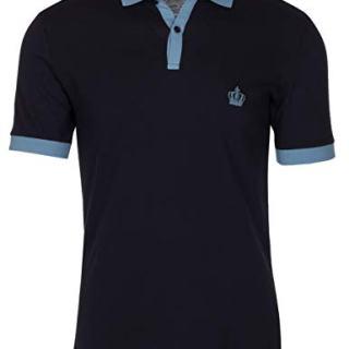 Dolce & Gabbana Men's Navy Crown 'Corona' Short Sleeve Contrast Polo Shirt