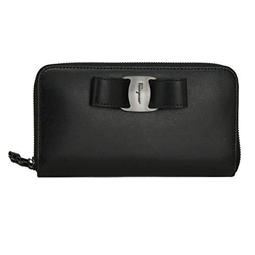 Salvatore Ferragamo Vara Black Leather Long Wallet Zip Around NeroNero