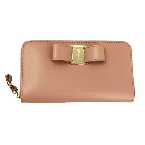Salvatore Ferragamo Vara Pink Leather Long Wallet Zip Around Antique Rose