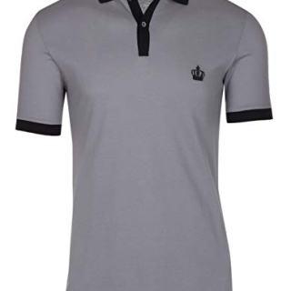 Dolce & Gabbana Men's Gray Crown 'Corona' Short Sleeve Contrast Polo Shirt
