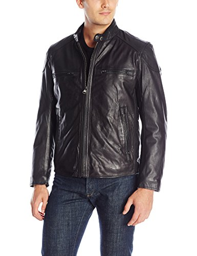 Marc New York by Andrew Marc Men's Mac Calf Leather Moto Jacket, Black, Small