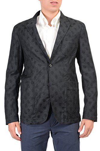 Alexander McQueen 100% Wool Gray Skull Patterned Men's Blazer