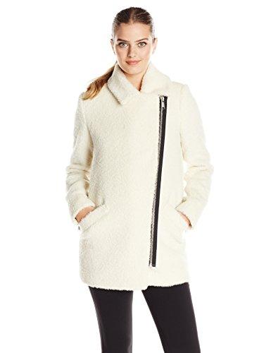 Andrew Marc Women's Wool Moto Cocoon Coat, Winter White, 6
