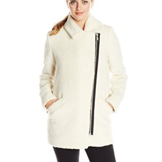 Andrew Marc Women's Wool Moto Cocoon Coat, Winter White, 6