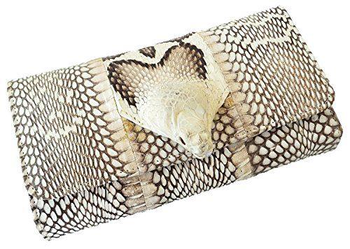 Authentic Snake Skin Women's Long Bifold Cobra Snake W/Head Purse Wallet
