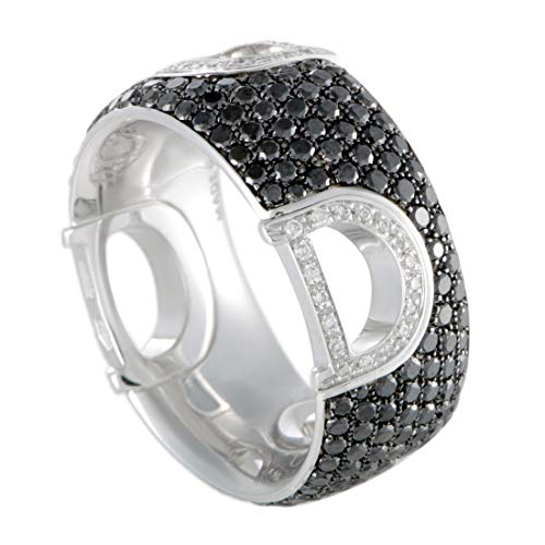 Damiani D.Icon 18K White Gold Full White and Black Diamond Band Ring