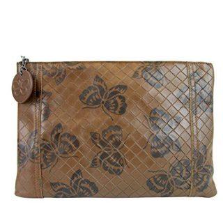 Bottega Veneta Intrecciomirage Brown Leather Butterfly Clutch Pouch Bag