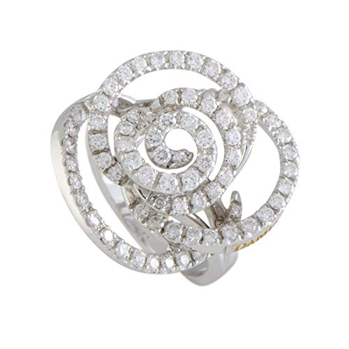 Damiani Bocciolo 18K White Gold Full Diamond Flower Ring