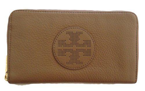 Tory Burch Kipp Zip Continental Clutch Wallet Sand Dollar Leather