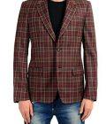 Alexander McQueen Men's 100% Wool Plaid Two Button Blazer Sport Coat