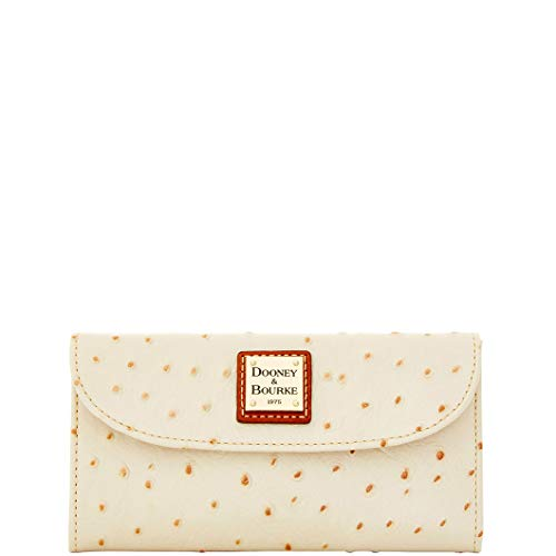 Dooney & Bourke Ostrich Emb Leather Continental Clutch Pearl Wallet
