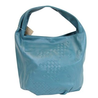 Bottega Veneta Hobo Blue Leather Bag With Woven Detail