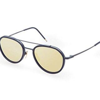 Sunglasses THOM BROWNE Matte NavyNavy w/Dark Brown-Gold Mirror-AR